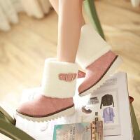 彼艾2017秋冬季韩版马丁靴皮带扣休闲鞋平跟短靴学生鞋孕妇鞋保暖女靴子