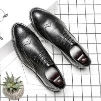 布洛克雕花男鞋春夏款韩版潮流尖头系带正装休闲鞋英伦男士小皮鞋