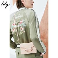 Lily2018春新款女装OL纯色简约动物纹单肩包118110BZ416