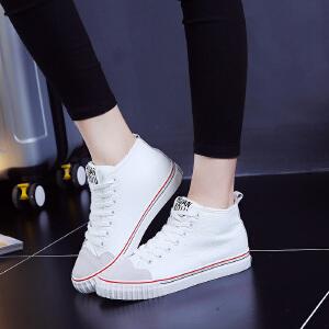 环球冬季加绒保暖防水棉鞋女潮2017新款休闲系带学生平底短靴子女