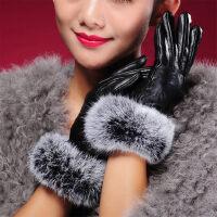 羊皮手套女冬季羊皮手套触摸屏保暖防寒兔毛口手套可爱