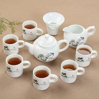 陶瓷整套 功夫茶具套装 家用景德镇青花高白搪瓷杯广告礼品定制LOGO