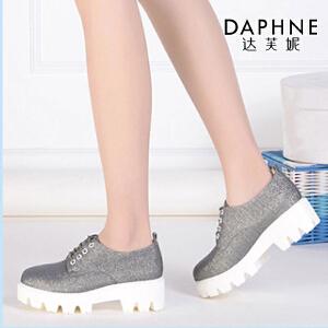 Daphne/达芙妮女鞋春季时尚舒适女单鞋圆头PU厚底系带织物布鞋-