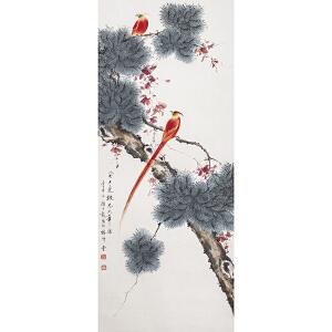 B2200 颜伯龙《双寿图》(北京文物公司旧藏,原装旧裱满斑)