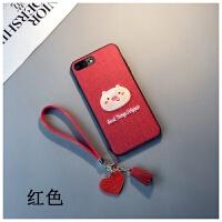 红色刺绣猪款iphone6s plus手机壳苹果Xs max本命年8情侣7挂绳女XR六七八软胶套保护