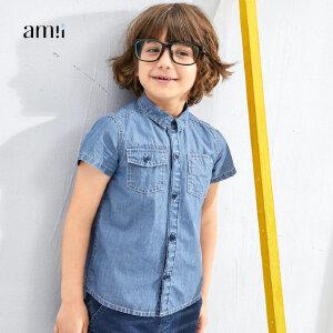 【尾品汇 5折直降】amii童装2017夏季款男童牛仔衬衫翻盖口袋儿童翻领短袖休闲衬衣#