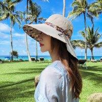 遮阳帽子女韩版百搭双面戴渔夫帽简约大沿防晒帽遮脸出游沙滩太阳帽