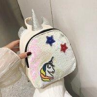 韩版儿童包包2019萌娃个性独角兽男女童双肩包时尚亮片小背包
