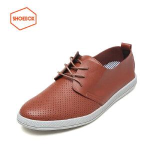 达芙妮旗下SHOEBOX/鞋柜正品春款时尚简约圆头低跟系带休闲鞋皮鞋