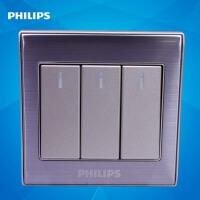 飞利浦墙壁开关插座面板金属系列Q8 213-2 三位按键三开双路开关