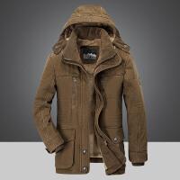 冬季加厚中年棉衣男中长款外套男大码宽松加绒保暖冬装棉袄大衣男