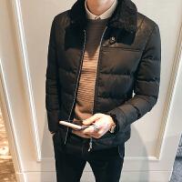 男士休闲棉服冬季青少年韩版潮流学生修身帅气翻领短款厚棉衣外套