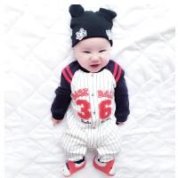 婴儿连体衣服春秋初生女宝宝春装12满月0岁3个月6新生儿纯棉套装