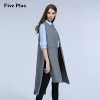Five Plus新女装刺绣字母长款宽松羊毛呢背心马甲2HM4342050