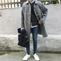 韩国牛角扣毛呢大衣男中长款宽松风衣青年妮子外套潮冬加厚