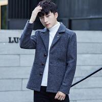 呢子大衣男韩版修身中长款男士外套冬加棉加厚英伦毛呢风衣男潮流 灰色 M