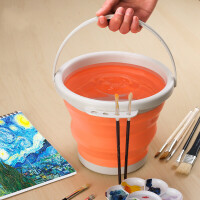 洗笔桶折叠硅胶水桶美术涮笔筒颜料水粉绘画水彩画画器
