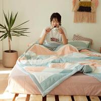 家纺简约纯棉水洗棉空调被日式条纹格子全棉夏凉被子双人学生宿舍单人
