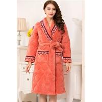 纯棉睡衣秋季女士长袖套装无领家居服开衫 图片色