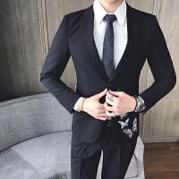 2017秋款型男装刺绣西装男外套男士修身韩版正职业装新郎西服男