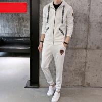 韩版学生运动服装卫衣男连帽大码休闲套装 新款男士开衫外套长裤两件套运动套装