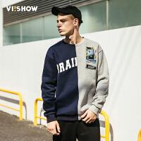 VIISHOW2017秋装新品圆领套头卫衣男阴阳拼接男士外套运动衫潮