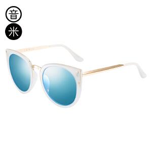 音米2017新款时尚百搭偏光太阳镜女个性猫眼复古墨镜女圆脸司机镜 AASBPH416