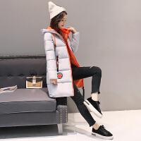 韩观2017新款中长款女式冬季韩版修身大码加厚羽绒 长袖连帽棉衣