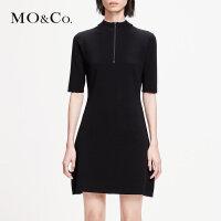 MOCO2019春季修身A字显瘦五分袖拼接拉链连衣裙MAI1DRS026 摩安珂
