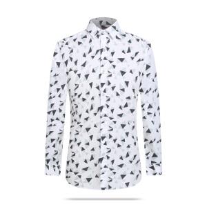 才子男装(TRIES)长袖衬衫 男2017秋冬新款几何印花温莎领时尚商务休闲长袖衬衫