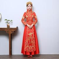 服新娘礼服中式结婚嫁衣喜服红色敬酒服旗袍新款秋冬秀和 红色