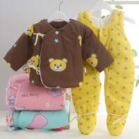 吉妮娃 男女宝宝婴儿棉衣套装 加厚冬装新生儿棉服纯棉和尚服背带棉裤包脚
