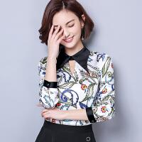 实拍印花雪纺衫女长袖韩版春季新款小衫百搭修身大码衬衣
