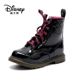 鞋柜/迪士尼冬季短靴低筒女童系带保暖靴子1