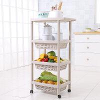 厨房置物架可移动落地4层塑料蔬菜水果多层杂物收纳架分层整理架