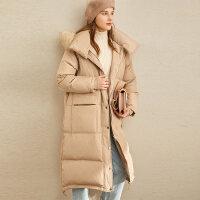 【券后价:912元】Amii极简韩版90白鸭绒羽绒服2019冬季新款宽松加厚长款大毛领外套