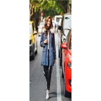 冬季新款 欧美风中长款牛仔外套女式加绒加厚大毛领风衣外套 牛仔蓝