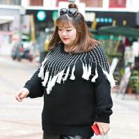 加肥加大码女装200斤冬时尚潮流黑白撞色流苏套头针织衫毛衣 黑色
