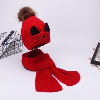 秋冬季儿童帽子围巾套装毛线针织男女童加绒保暖两件套中大童冬天
