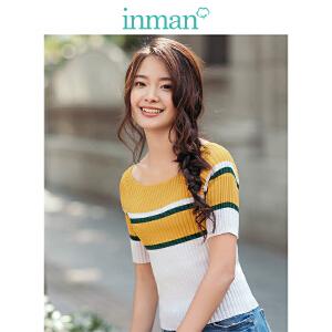 茵曼2018夏季新品低圆领撞色间色条纹短袖弹力针织恤女修身上衣【F1882302906】