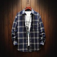 长袖格子男士衬衫秋装新款潮流青少年学生休闲衬衣男生寸衣潮款