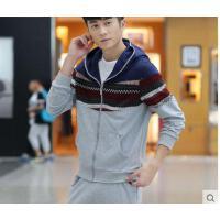 新款纯棉薄款学生外套潮男士修身套装 韩版青少年休闲长袖两件套