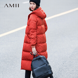 【大牌清仓 5折起】Amii极简韩版时尚红黑白色羽绒服女士2017新款中长超过膝加厚修身