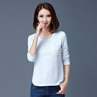 韩观2018新款中年大码女装妈妈装上衣女士长袖T恤30-40岁棉秋衣外穿