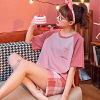 小情歌纯棉睡衣女士夏季短袖薄款可爱粉红顽皮豹休闲居家服学生两件套装JBEK2064