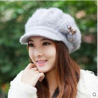 女时尚透软舒适韩版 潮护耳贝雷帽保暖兔毛帽针织毛线帽子