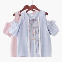 2018夏季新款韩版露肩短袖民族风流苏显瘦系带雪纺衫娃娃衫衬衫女