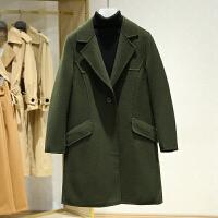 西装领双面呢大衣女2017冬装新款 韩版纯色中长款一粒扣毛呢外套