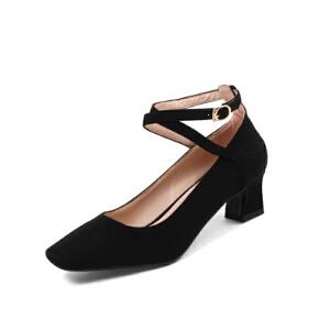 ELEISE美国艾蕾莎新品020-H11-3韩版磨砂绒面中跟粗跟女士单鞋