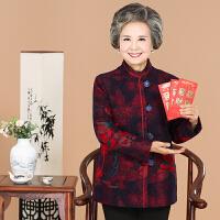秋冬中老年女装毛呢外套40-50岁妈妈装印花短外套大码奶奶装上衣
